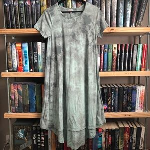 LuLaRoe Blue / Gray Tie Dye Print Carly Dress XS